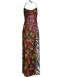 Attico - Floral-print Halterneck Satin Dress - Lyst