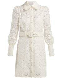 Zimmermann Heathers Belted Broderie Anglaise Mini Dress - White
