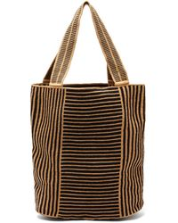Guanabana Liam Striped Panelled Woven Tote Bag - Black