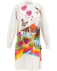Kilometre Paris California Embroidered Linen Shirt Dress - White