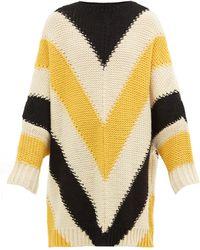 Loewe Oversized Chevron-stripe Wool Jumper - Yellow