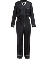 Prada Silk Logo Jumpsuit - Black