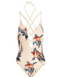 Katie Eary - Fish-print Lace-up Swimsuit - Lyst