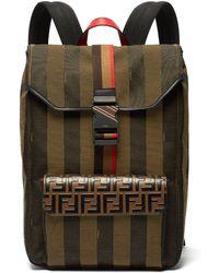 Fendi - Ff Striped Canvas Backpack - Lyst