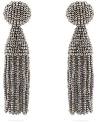 9163d84c8b4b Oscar de la Renta - Bead Embellished Tassel Drop Earrings - Lyst