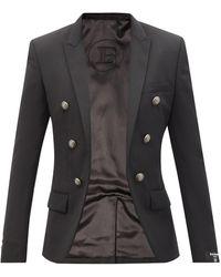 Balmain オープンフロント ウールツイルジャケット - ブラック