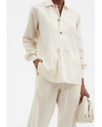 Umit Benan B+ Julian Half-placket Striped Silk-blend Shirt - Natural