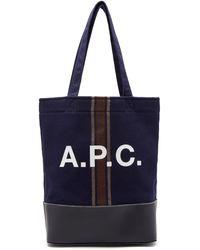 A.P.C. アクセル ウールブレンドトートバッグ - ブルー