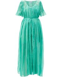 Thierry Colson Sabina Pleated Cotton Dress - Green