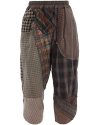 By Walid Alain Patchwork Upcycled-cotton Cropped Trousers - Multicolour