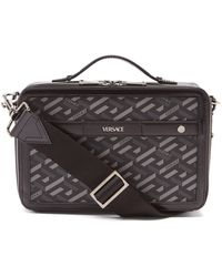 Versace キャンバス&レザーバッグ - グレー