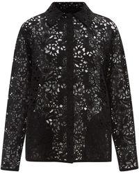 Valentino マクラメレース シャツジャケット - ブラック