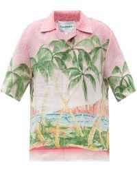 CASABLANCA - キューバンカラー リネンショートスリーブシャツ - Lyst