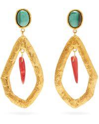 Sylvia Toledano Coral Drop Malachite Clip Earrings - Metallic