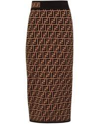 Fendi Ff-jacquard High-rise Knit Pencil Skirt - Brown