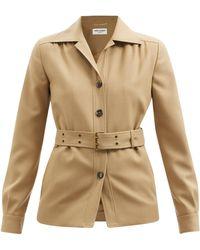 Saint Laurent ベルテッド ウールツイル シャツジャケット - ナチュラル