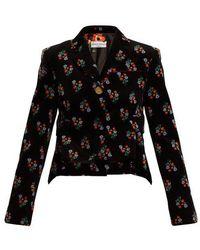 Sonia Rykiel - Floral-print Single-breasted Corduroy Jacket - Lyst