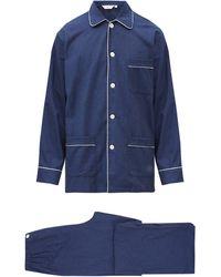 Derek Rose Piped Pyjama Set - Blue
