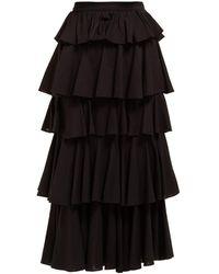 RHODE Romeo High Rise Tiered Cotton Midi Skirt - Black