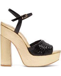 Sophia Webster Juju Sequinned Leather Platform Sandals - Black