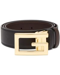 9cebc0c0839f8 Gucci Leather Belt with Small Square Buckle in Brown for Men - Lyst