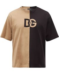 Dolce & Gabbana スプリット コットンtシャツ - ブラック