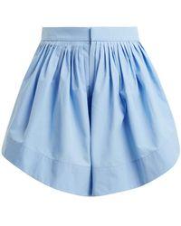 Chloé - Pleated Cotton Shorts - Lyst