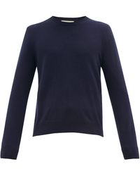 Gucci GG Embroidered Crew Neck Wool-blend Sweater - Blue