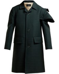 Raf Simons - Single Breasted Checked Wool Coat - Lyst