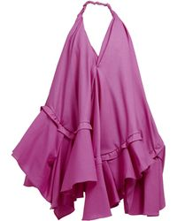 Jacquemus - Robe courte en popeline asymétrique Rosa - Lyst