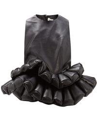Noir Kei Ninomiya Double Peplum Faux Leather Top - Black