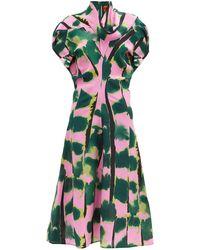 Colville タイガーテール シルククレープドレス - グリーン