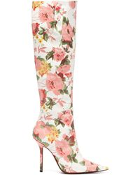 Vetements Floral-print Leather Knee-high Boots - Pink