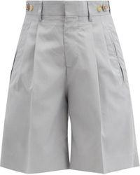 Umit Benan B+ Richard Pleated Silk Suit Shorts - Blue