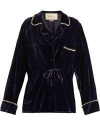 Gucci | Crystal-embellished Velvet Pyjama Shirt | Lyst