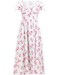 Gül Hürgel Poppy Print Cap Sleeved Linen Midi Dress - Pink