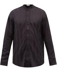 SMR Days Tulum Jacquard-striped Bamboo-blend Twill Shirt - Black