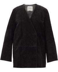 Totême Totême オーバーサイズ スエードダブルジャケット - ブラック