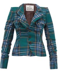 33d1fa4f9 Tartan Single Breasted Ruched Wool Jacket - Green