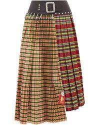 Chopova Lowena Tartan Box Pleat Recycled Midi Skirt - Multicolour