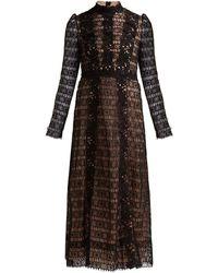 Giambattista Valli Chantilly And Guipure-lace Cotton-blend Dress - Black