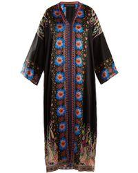 Etro - Floral-print Hammered Silk-satin Dress - Lyst
