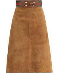 Gucci ホースビット スエードスカート - ブラウン
