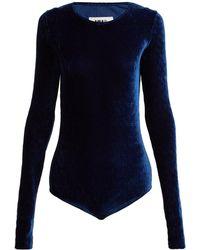 MM6 by Maison Martin Margiela - Velvet Jersey Blend Bodysuit - Lyst