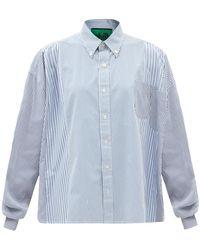 Colville パッチポケット ストライプコットンポプリンシャツ - ブルー