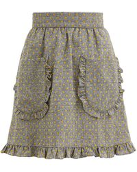 BATSHEVA チェック フロックウールスカート - マルチカラー