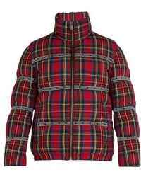 Versace - Tartan Quilted-down Coat - Lyst