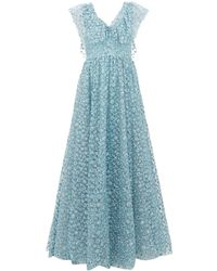 Luisa Beccaria Floral-embroidered Tulle Gown - Blue