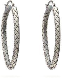 Bottega Veneta - Intrecciato Engraved Sterling Silver Hoop Earrings - Lyst