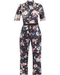 Erdem Vala Dusk Bouquet-print Cotton-blend Jumpsuit - Black